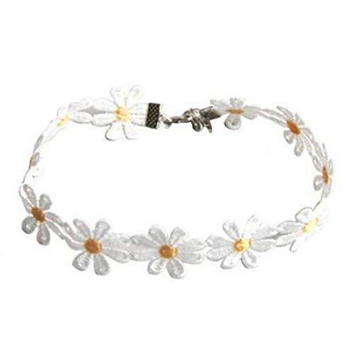 NIHAI Daisy Flower Necklace Clavicle Chain Alloy Women Jewelry for Ladies Girls Valentine's Day Birthdays Anniversaries Girlfriend Gift -