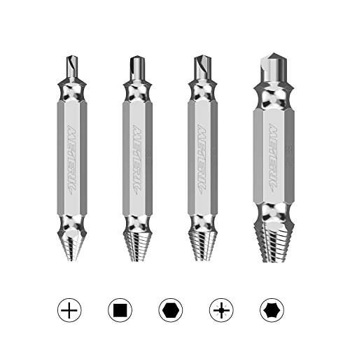 12 Piece Screw (Meterk Damaged Screw Extractor and Remove Set, Extractor Set Made From H.S.S. 4341#, HRC62-63 Hardness Broken Screw Bolts Extractors Easy Stripped, Set of 4 Stripped Screw Removers)