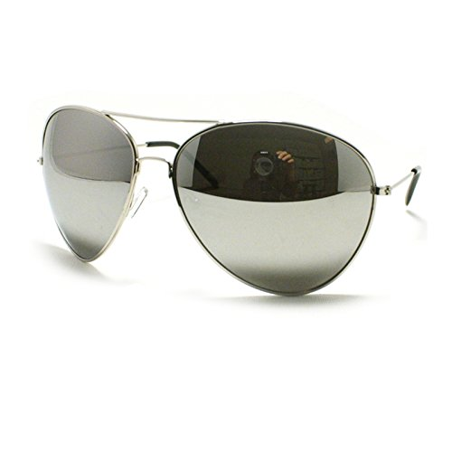 Silver Super Oversized Aviator Sunglasses Unisex Fashion Big Mirror Lens