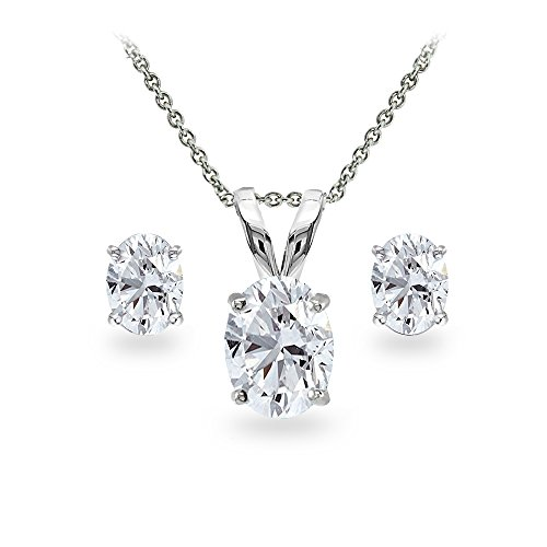 GemStar USA Sterling Silver Created White Sapphire Oval-cut Solitaire Necklace and Stud Earrings Set