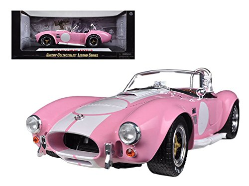 Maisto 1965 Shelby Cobra 427 S/C Pink With Printed Carroll Shelby Signature On The Trunk 1/18 Car Model by Shelby Collectibles