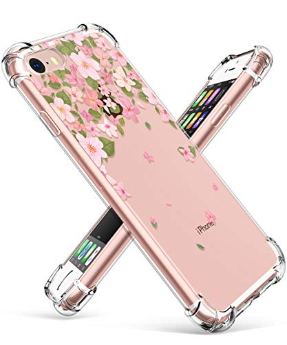 GVIEWIN Clear Flower Designed for iPhone 8 Case/iPhone 7 Case, Soft TPU Silicone Ultra-Thin Slim Fit Transparent Flowers Flexible Cover for iPhone 7, iPhone 8 (Cherry Blossom/Pink)