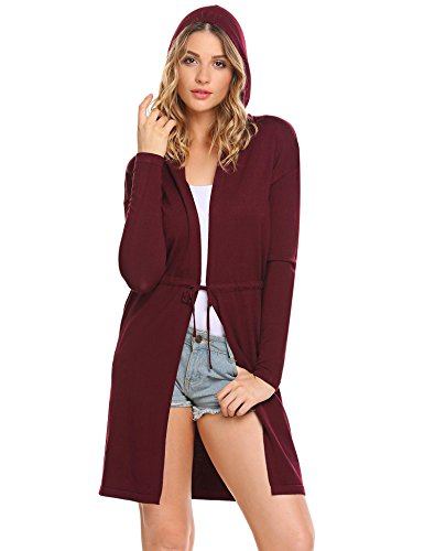 Cashmere Tie Front Cardigan (Vansop Basic Knit Solid Cashmere Extra Long Sleeve Hooded Cardigan,Wine Red,Medium)