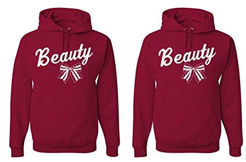 FASCIINO LGBT Matching Gay Pride Hers & Hers Lesbian Couple Hooded Sweatshirt Set - Beauty and Beauty Bow (Beauty Shirt #1: XLarge/Beauty Shirt #2: Small Cardinal)
