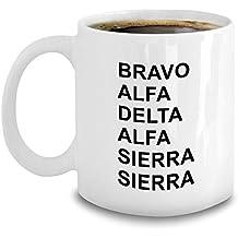 Aviation Phonetic Alphabet Mug - Funny Military Code Gift - Bravo Alpha Delta Sierra