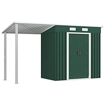 vidaXL 12x4 Pent Metal Shed With Side Canopy