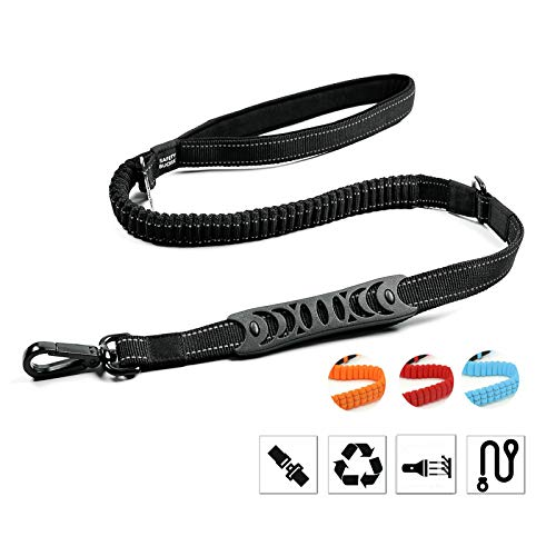 Petvins Heavy Duty Dog Leash – Reflective Nylon Dog Training Rope with Padded Handles – Dog Car Seat Belt – Strong No Pull Bungee for Shock Absorption, Black Review