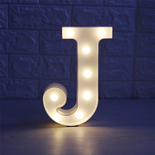 Lamp Alphabet (CSKB LED Marquee Letter Lights 26 Alphabet Light Up Marquee Letters Sign For Wedding Birthday Party Battery Powered Christmas Night Light Lamp Home Bar Decoration J)
