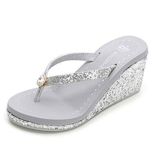 VOWAN Women's Sequins Wedge Flip Flops High Heel Sparkly Platform Slip On Glitter Summer Thong Sandals