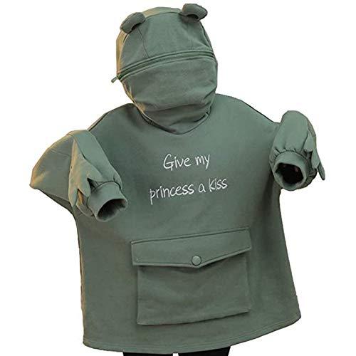 Clacce Damen Kapuzenpullover Grün Frosch Pullover Oversize Kapuzen Pulli Sweatshirt Oberteile Tops für Herbst Winter Dekoration Mantel Outwear Kapuzenjacke