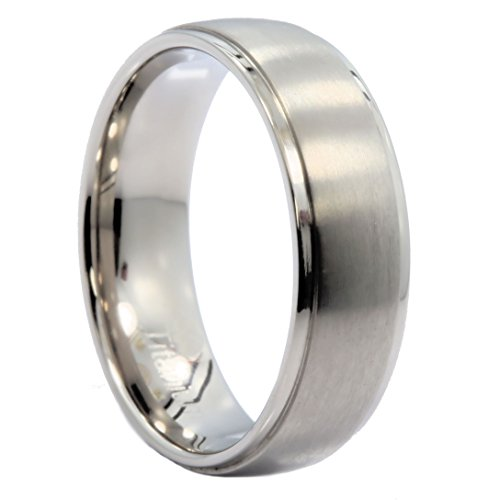 MJ Metals Jewelry 7mm Polished Recessed Edges Titanium Wedding Band Comfort Fit Ring Size 9.5 ()