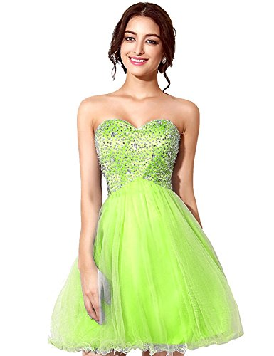 Sarahbridal Homecoming Dresses A-Line Sweetheart Short Beaded Bodice Tulle for Juniors Lemon Yellow US16