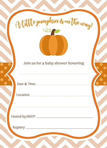 Pumpkin Fill in The Blank Baby Shower Invitations Chevron Little Pumpkin Sprinkle Invites Orange White Stripes On The Way Polka Dots Autumn Fall Halloween (24 Count) ()