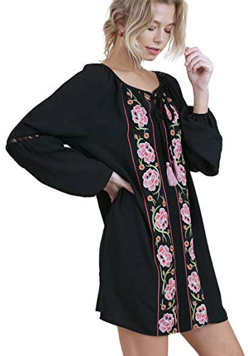 Umgee Bohemian Floral Embroidered Dress with Crochet Trim (Large, (Black Crochet Trim Mini Dress)