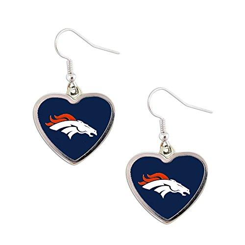 Sports Team Denver Broncos Non-Swirl Heart Shape Dangle Earring ()