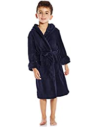 Boys Girls Solid Hooded Fleece Sleep Robe (Size 2 Toddler-14 Years) Variety of Colors