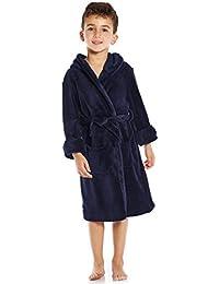 Kids Robe Boys Girls Solid Hooded Fleece Sleep Robe...