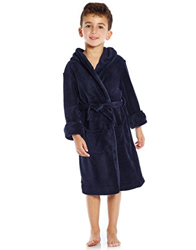 Leveret Kids Fleece Sleep Robe Navy Size 14 Years -