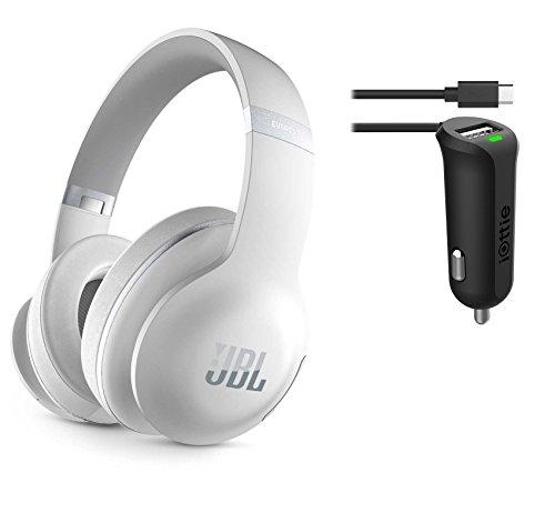 JBL Everest Elite 700 NXTGen Noise-Canceling Bluetooth Around-Ear Headphones - White & Car Charger Bundle