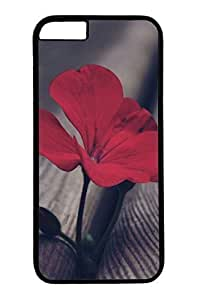 B Red Flowers Slim Hard Cover for iPhone 6 Plus Case ( 5.5 inch ) PC Black Cases in GUO Shop