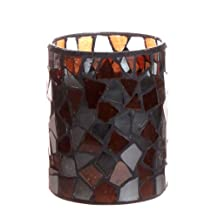 DFL Led Candle, Flameless Wax Candle lantern lights With Timer,Wedding Decor,Brown Irregular Mosaic Glass Candle,Battery Operated,3x4 Inch