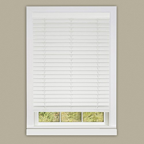 Achim Home Furnishings Madera Falsa 2-Inch Slat Faux Wood Plantation Blind, 31 by 64-Inch, ()