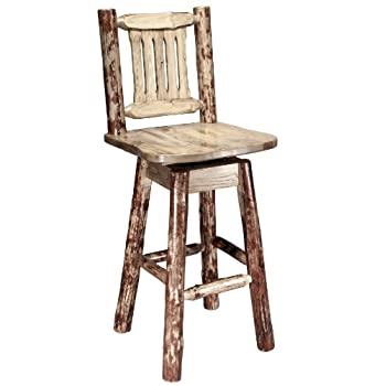 Montana Woodworks Glacier Country Collection Barstool with Back and Swivel, Ergonomic Wooden Seat