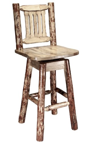 (Montana Woodworks Glacier Country Collection Barstool with Back and Swivel, Ergonomic Wooden Seat)
