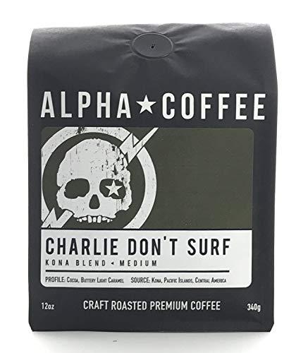 Alpha Coffee, Kona Coffee Beans, 12 ounces, Light Medium Roast Hawaiian Coffee Blend, Charlie Don't Surf, 100% Arabica