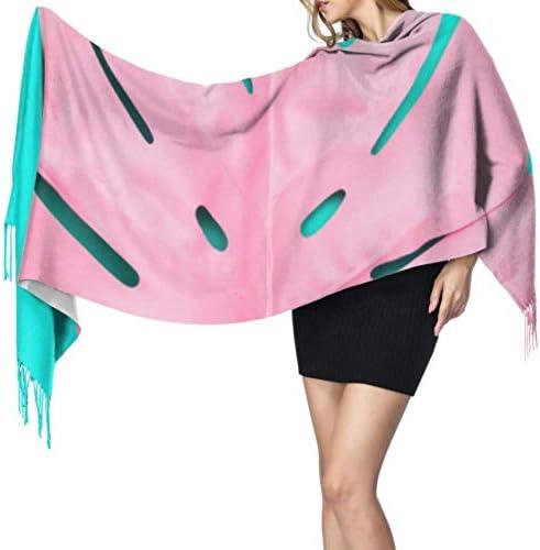 shenguang Roze Painted Tropical Palm Blad Print sjaal sjaal wrap damessjaal kasjmier 77 x27196x68cm grote zachte Pashmina extra warm
