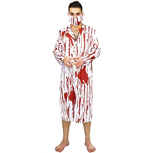 Enerhu Halloween Costumes Cosplay Bloody Doctor Bleeding Zombie Horror Creepy Costume Onesies with Mask Role Play Theme Party Cosplay Supplies #2 for $<!--$22.02-->