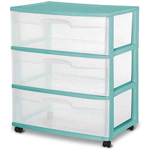 Sterilite 3 Wide Plastic Storage Bedroom, Bathroom See-Through Drawer Cart, Aqua Ocean (Sterilite Craft Cart)