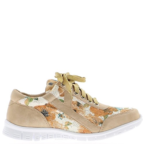 Wedge Sneakers Beige Women and Flowers with White Sole
