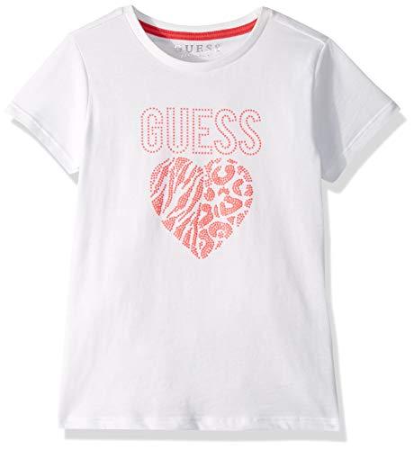 GUESS Girls' Little Short Sleeve Leopard Heart Logo T-Shirt, True White a, 2 ()