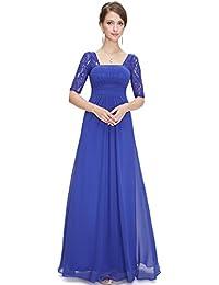 Half Sleeve Square Neckline Ruched Waist Evening Dress 08038
