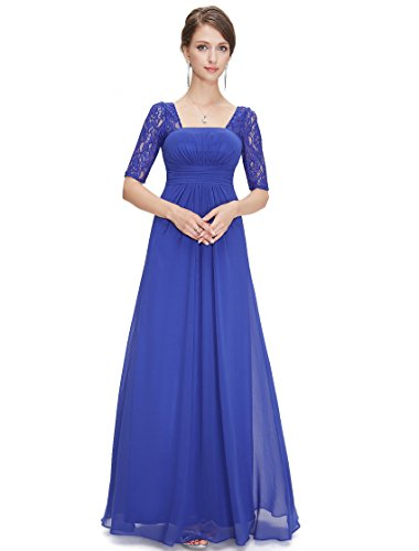 Ever-Pretty Eleangt Womens Lacey Dress with Long Sleeve 4US Sapphire Blue
