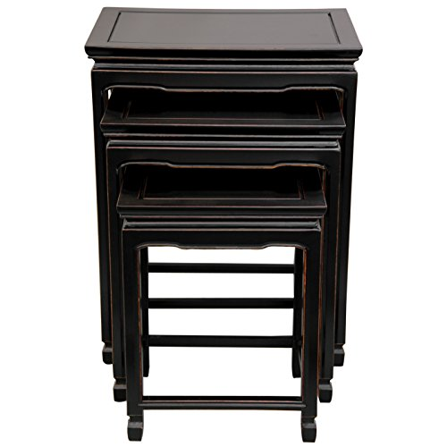 Oriental Furniture Rosewood Nesting Tables - Antique Black (Rosewood Set Table)