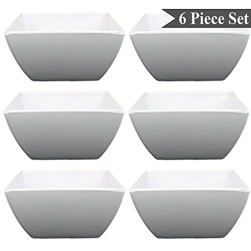 Bowl Square Pasta (Square White Melamine Soup Salad Pasta Ice Cream Bowls (6 Inches) Set of 6 by bogo Brands)