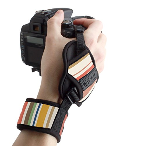 USA GEAR Professional Camera Grip Hand Strap with Stripe Neoprene Design and Metal Plate - Compatible with Canon , Fujifilm , Nikon , Sony and more DSLR , Mirrorless , Point & Shoot Cameras