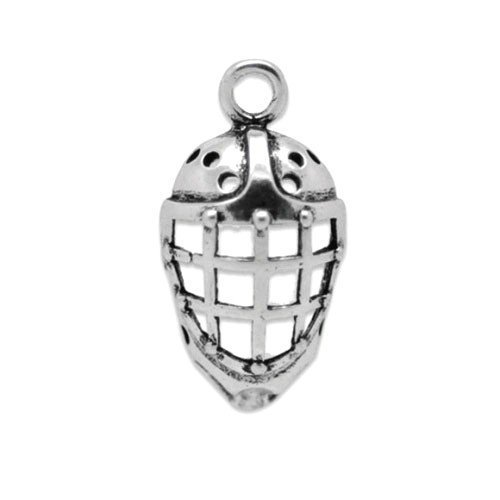 Paquet 5 x Argent Antique Tibétain 26mm Breloques Pendentif (Masque De Hockey) - (ZX04210) - Charming Beads