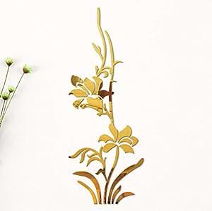 Beilinheng Etiqueta De Efecto Espejo 60 x 150 cm Patrón De Flor Etiqueta De La Pared del Espejo Decoración para El Hogar Sala De Estar Tatuajes De Pared Fondo Impermeable 24x60 Inch