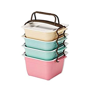 [4 packs] EugeneWare Stackable And Reusable Meal Food Prep Containers With Lids, Microwave, Dishwasher And Refrigerator Safe, BPA Free, Bento Lunch Box Storage With PP Straps, For Diet Portion Control