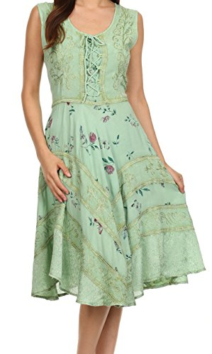 Sakkas 12311 Fairy Maiden Corset Style Dress - Sage Green - 1X/2X (Green Fairy Dress)