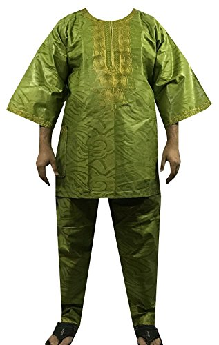 (DecoraApparel Men African Pant Set Black History Month Brocade Embroidered 3 PCs Suits Bright Colors (Green Gold E1))
