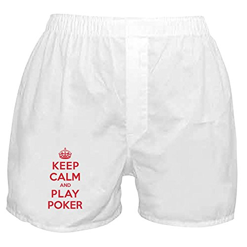 (CafePress - Keep Calm Play Poker - Novelty Boxer Shorts, Funny Underwear White)
