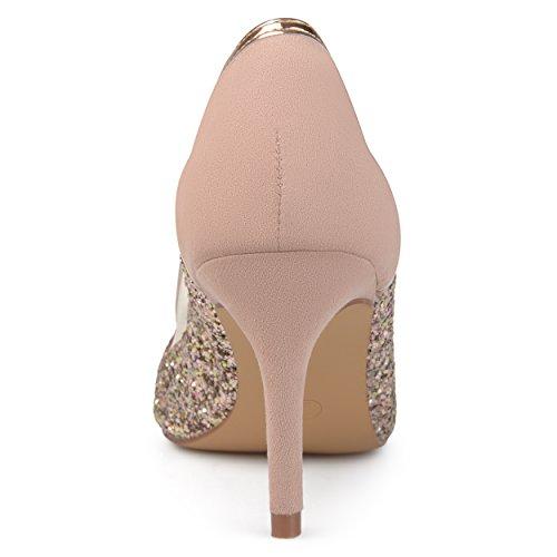 Brinley Co. Womens Kori Faux Suede Mesh Glitter Almond Toe Heels Rose Gold, 7 Regular US by Brinley Co (Image #3)