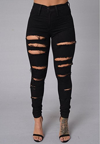 03b2dfc1787e33 Lingswallow Women's Sexy Jeans Ripped Hole Skinny Fit Leggings Denim Pants  Black