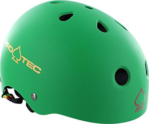 (ProTec Classic Matte Rasta Green Skate Helmet - Large / 22.8