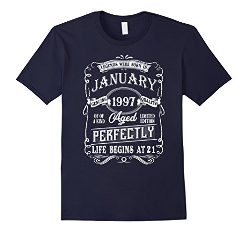 Mens Legends Were Born In Jannuary 1997, 21th Birthday Gift Shirt 3XL Navy