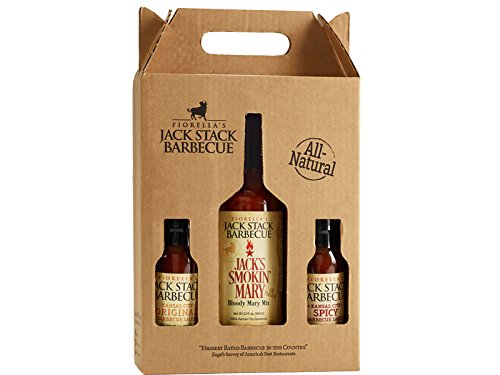 Jack Stack Bloody Mary Gift Box: 1 Bloody Mary Mix, 32 oz. + 1 Original & 1 Spicy, 10 oz. - All-Natural Bottles